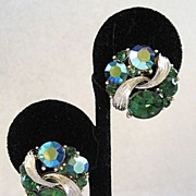 Lisner Silver Tone Green Rhinestone Earrings