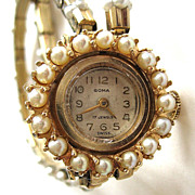 14K Yellow Gold Pearl Goma Watch with Speidel Faux Pearl Double Watch Band
