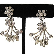 Silver-Tone Rhinestone Floral Flare Earrings