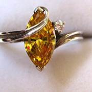 SALE Sterling Silver Yellow and Clear Glass Stone Ring