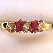 SALE Gold-Tone Ruby and Clear Glass Stone Ring