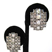 Kramer Curved Rhinestone Sparkling Clip-back Earrings