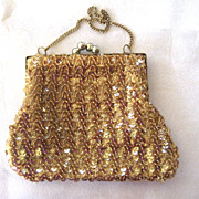 Gold Sequined Bag with Ball Clasp
