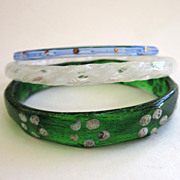 Late 19th Century-Early 20th Century Bohemian Glass Childrens' Bangle Bracelets