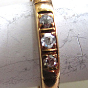 SALE 14K Yellow Gold Three Diamond Band
