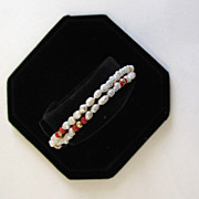 SALE 14K Double-Strand Freshwater Rice Pearl and Coral Bracelet