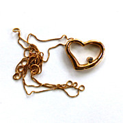 SALE 10K Yellow Gold Diamond Heart Pendant