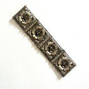 Art Deco Silver Metal Filigree Floral Belt Buckle