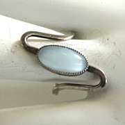 SALE Beau Sterling Blue Frosted Glass Ring