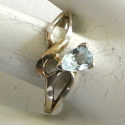SALE Sterling Silver Blue Topaz Ring