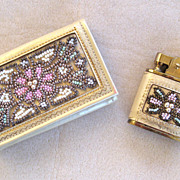 SALE French Daniel Entre Nous Leather and Bead Key Case and Lighter Set