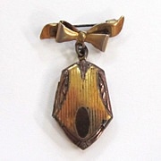 SALE Circa 1930s Gold-Filled Locket with Sterling Silver Vermeil Bow Pin