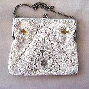 SALE 1920s European Embroidered Beaded Tambor Purse/Handbag