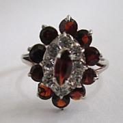 SALE Sterling Silver Garnet Glass Ring