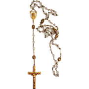 SALE Gold-Filled Glass Bead Filigree Rosary