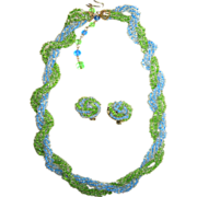 SALE Japanese-Made Blue and Green Seed Bead Demi-Parure: Necklace/Earrings