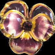 SALE 1950s Gold-Tone Cream and Purple Enamel Pansy Earrings