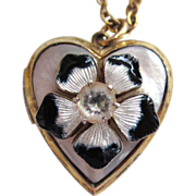 SALE Blue and White Enamel and Mother-of-Pearl Gold-Filled Heart Locket
