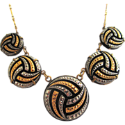 SALE Pididdly Links Gold-Tone and Silver-tone Marcasite Necklace