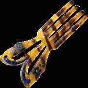 SALE Art Deco Faux Tortoise Shell Enamel and Rhinestone Hair Comb/Fork