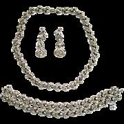Ora Rhinestone Parure: Necklace/Bracelet/Earrings