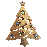 SALE Gold-Tone Christmas Tree Brooch/Pin