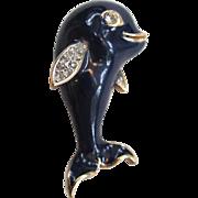 SALE Panetta Enameled Beluga Whale Brooch/Pin
