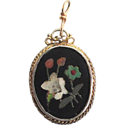 SALE Pietra Dura Gold-tone and Silver-Tone Pendant