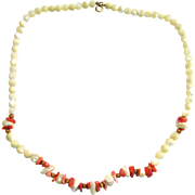 SALE Gold-Tone Glass and Coral Bead Necklace