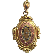 SALE Mixed Metal Gold-Filled Oval Locket with Rhinestones