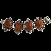 SALE Art Deco Silver-tone Faux Amber Bracelet