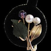 SALE Krementz Freshwater Pearl, Amethyst and Jade Earrings