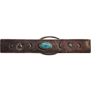 SALE Sterling Silver Sun and Moon Turquoise Tie Clip