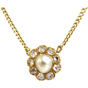 SALE Victorian 14K Rose Cut Diamond and Baroque Pearl Necklace