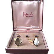SALE Hahne & Co Swank Mother-of-Pearl Cufflinks and Buttons Set