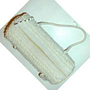 La Regale Barrel-Shaped Shag Bead and Sequined Cream Purse