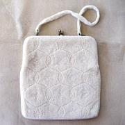 Delill White Beaded Handbag