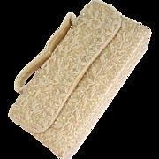 SALE DuBarry White Beaded Purse/Handbag
