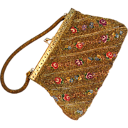 SALE Gold-Beaded Floral Tapestry Handbag/Purse