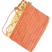 SOLD Circa 1930s Pink Crocheted Purse with Celluloid Frame