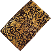SOLD Brown Fabric Clutch with Gold Floral Design