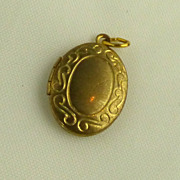 SALE Yellow Gold-Filled Scrolled Locket