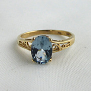 SALE 10K Yellow Gold Blue Topaz Filigree Ring