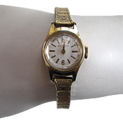 1960s era Belforte Ladies Gold-Tone Watch with 10K Gold-Filled Stretch Band
