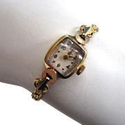 Circa 1950s 14K Yellow Gold Ladies Hamilton Watch with 12K Gold Filled Band