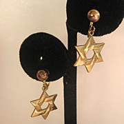 Gold Tone Star of David Earrings