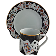 SALE Tiffany Playing Card Luncheon Set for 4, Plates & Mugs