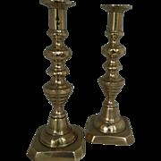 "19th Century English Brass Beehive 11"" candlesticks"