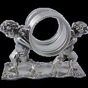 Vintage Silver Plate Figural Napkin Ring  2 Cherubs