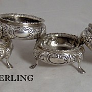 1872 Set of 4 English Sterling Silver Repousse Salt Cellars